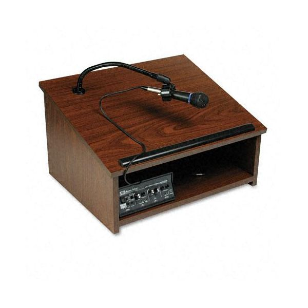 AmpliVox Wireless/Cordless Sound System Lectern, Tabletop, 24 x 20 x 14, Walnut