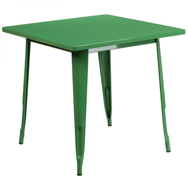 Flash Furniture 31.5'' Square Green Metal Indoor-Outdoor Table