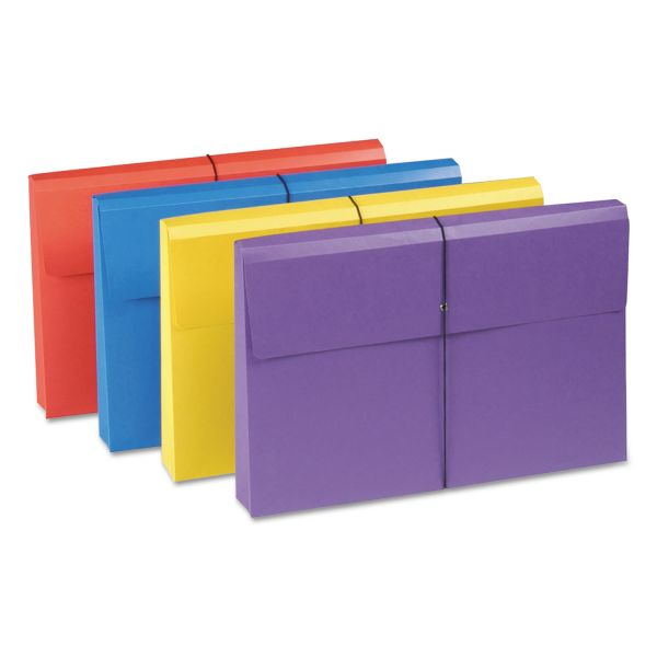 "Smead 2"" Exp Antimicrobial File Wallet, Legal, Four Colors, 4/Pack"