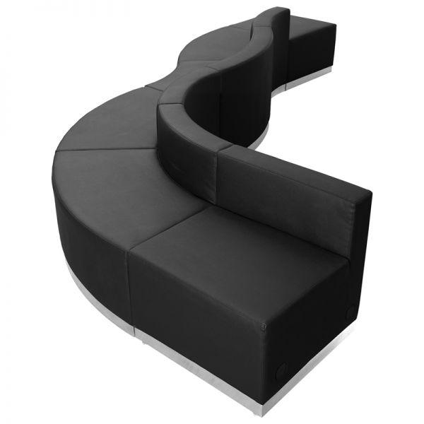 Flash Furniture HERCULES Alon Series Black Leather Reception Configuration, 6 Pieces