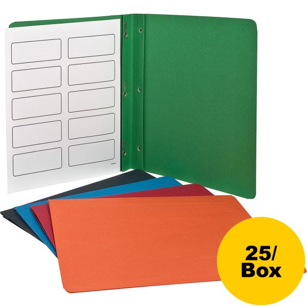 Oxford Report Cover, 3 Fasteners, Panel and Border Cover, Assorted Colors, 25/Box