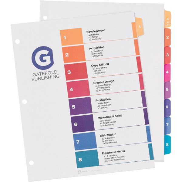 Avery Ready Table Of Contents Numbered Index Dividers