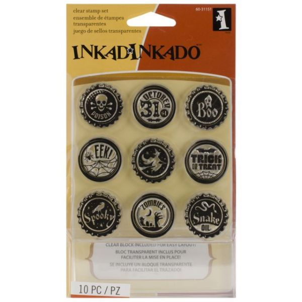 "Inkadinkado Halloween Inchie Clear Stamps 3.75""X3.75"" Sheet"