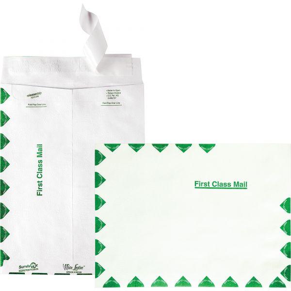 Survivor White Leather Tyvek Mailer, First Class, 9 x 12, White, 100/Box