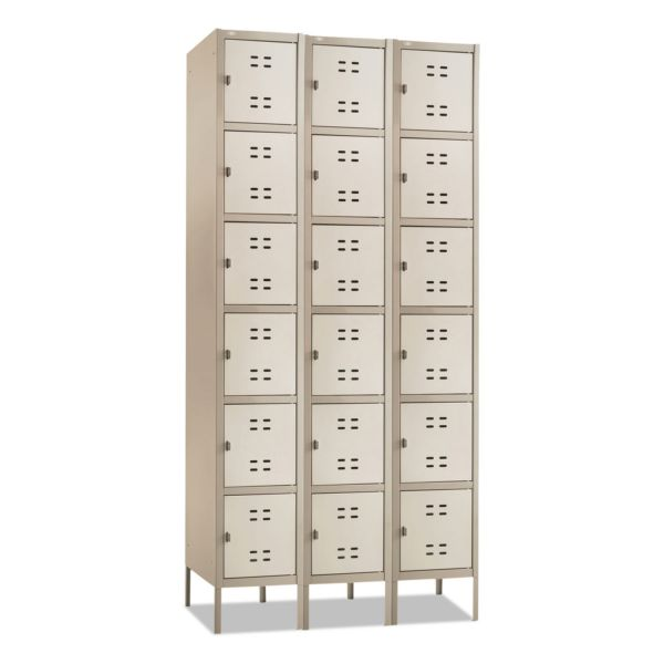 Safco Six-Tier Two-tone 3 Column Locker with Legs