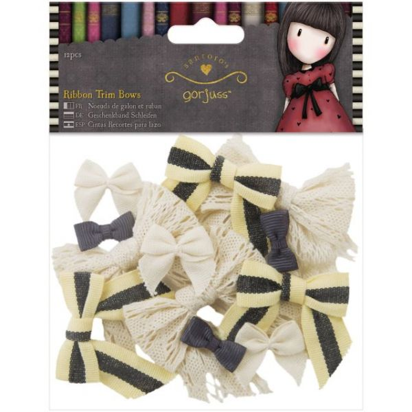 Simply Gorjuss Ribbon Trim Bows 12/Pkg