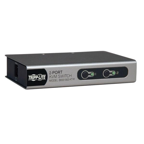 Tripp Lite 2-Port Desktop KVM Switch Slim w/ 2 KVM Cable Kits PS/2