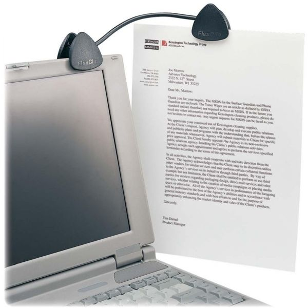 Kensington FlexClip Gooseneck Copyholder, Monitor/Laptop Mount, Black