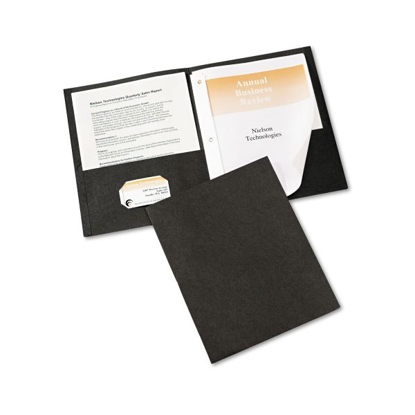 Avery Black Two Pocket Folders with Fasteners