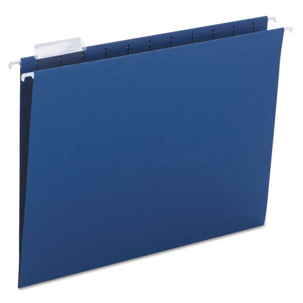 Smead Hanging File Folders, 1/5 Tab, 11 Point Stock, Letter, Navy, 25/Box