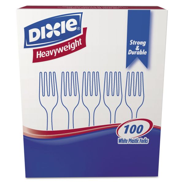 Dixie Plastic Cutlery, Heavyweight Forks, White, 1000 per Carton