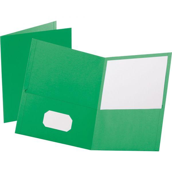 Oxford Twin-Pocket Folder, Embossed Leather Grain Paper, Light Green, 25/Box