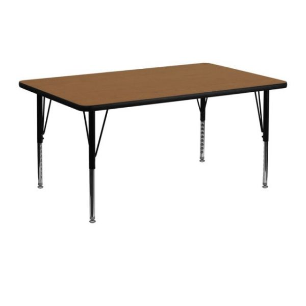 Flash Furniture 24''W x 48''L Rectangular Activity Table with Oak Thermal Fused Laminate Top and Height Adjustable Pre-School Legs [XU-A2448-REC-OAK-T-P-GG]