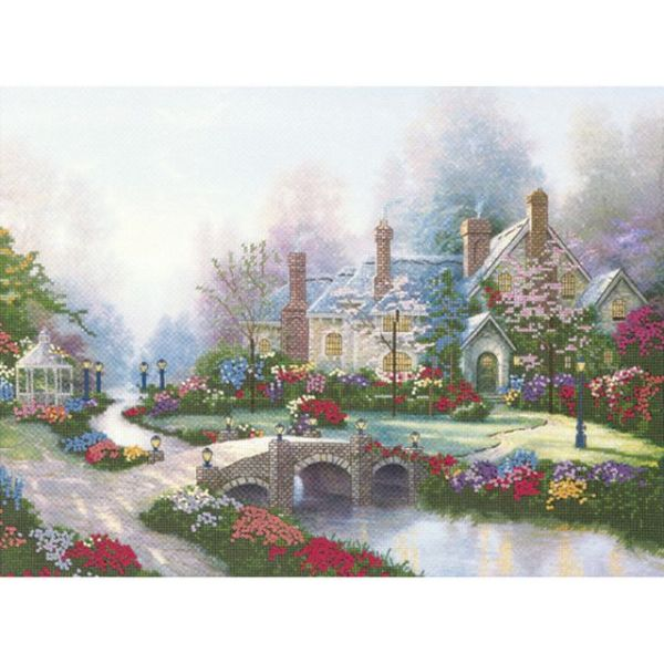 Candamar Thomas Kinkade Beyond Spring Gate Embellished Cross Stitch Kit