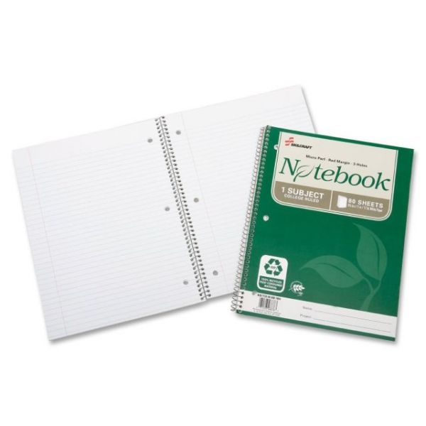 SKILCRAFT Single-Subject Recycled Spiral Notebook