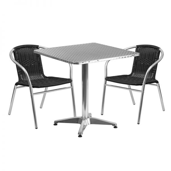 Flash Furniture 27.5'' Square Aluminum Indoor-Outdoor Table with 2 Black Rattan Chairs