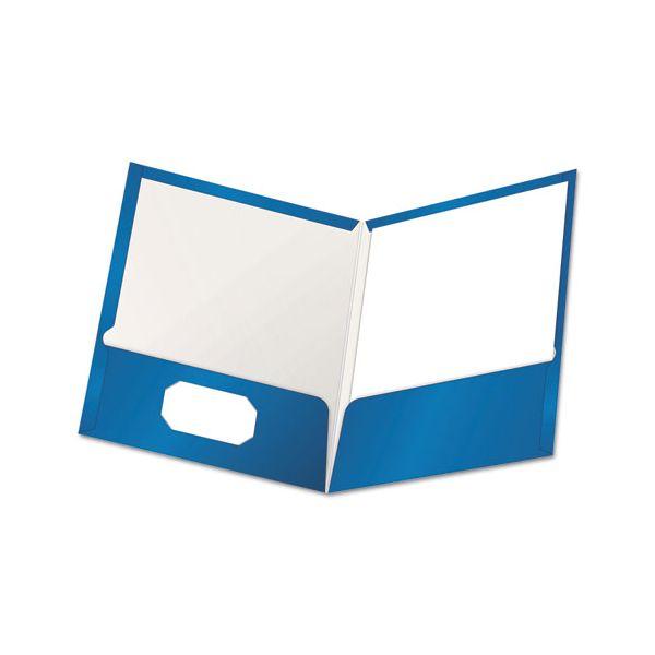 Oxford High Gloss Laminated Paperboard Folder, 100-Sheet Capacity, Blue, 25/Box