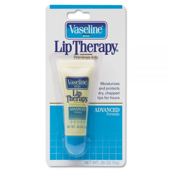 Vaseline Lip Therapy Advanced Lip Balm, 0.35 oz Tube, Regular Flavor, 72/Carton