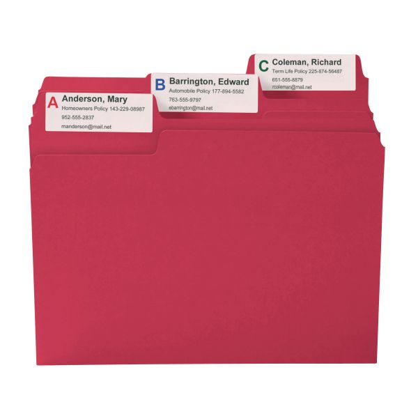 Smead SuperTab Red Colored File Folders