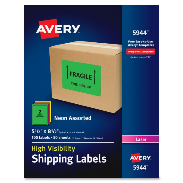 Avery 5944 Neon Shipping Labels
