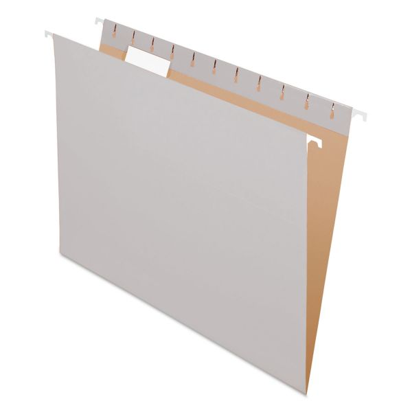 Pendaflex Colored Hanging Folders, 1/5 Tab, Letter, Gray, 25/Box