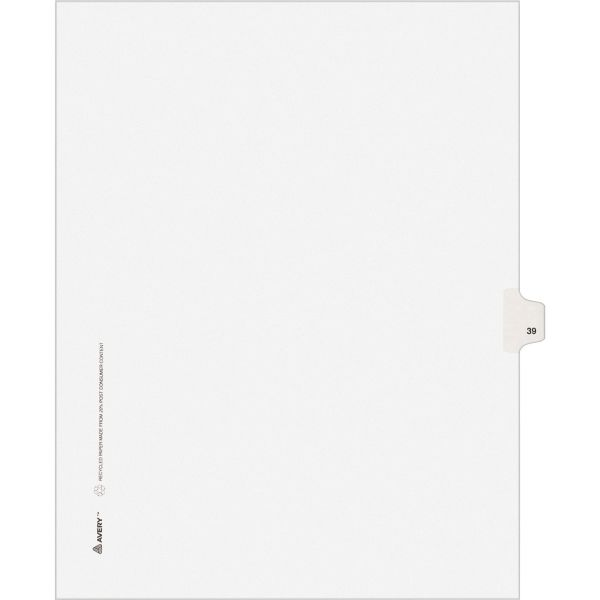Avery Allstate-Style Legal Exhibit Side Tab Divider, Title: 39, Letter, White, 25/Pack