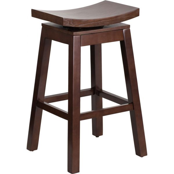 Flash Furniture 30'' High Saddle Seat Barstool with Auto Swivel Seat Return