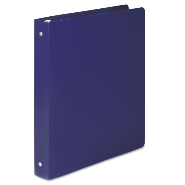 "ACCO ACCOHIDE Poly Round Ring Binder, 35-pt. Cover, 1"" Cap, Blue"