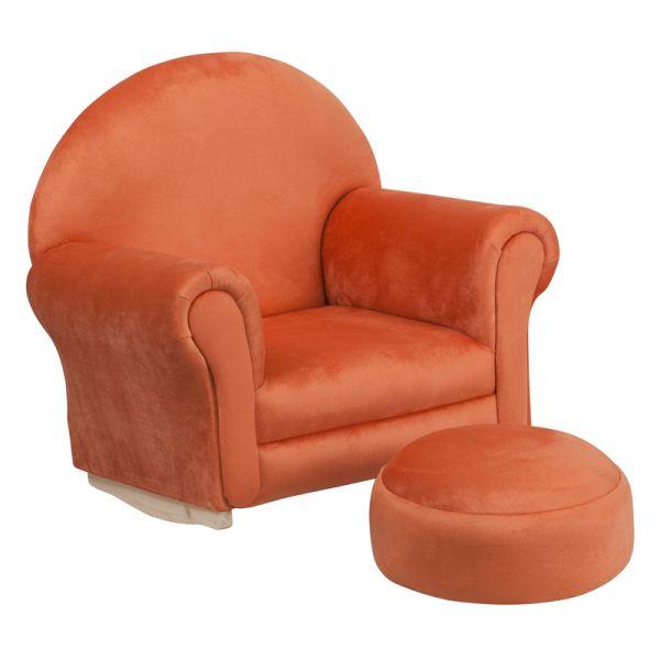 Flash Furniture Kids Orange Microfiber Rocker Chair and Footrest