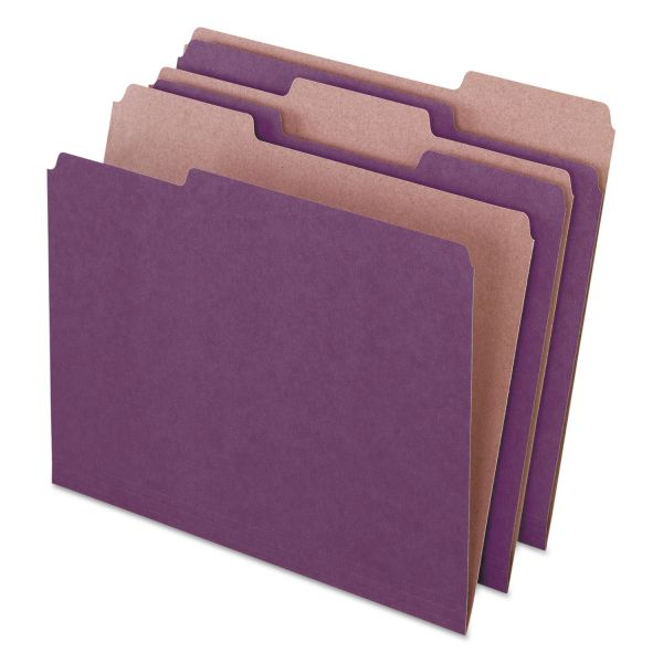 Pendaflex Earthwise by Pendaflex Recycled File Folders, 1/3 Top Tab, Ltr, Violet, 100/BX