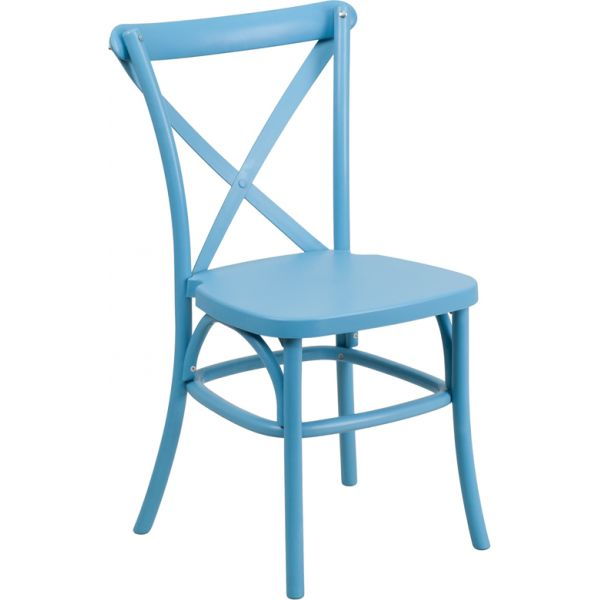 Flash Furniture HERCULES Series Blue Resin Indoor-Outdoor Cross Back Chair with Steel Inner Leg