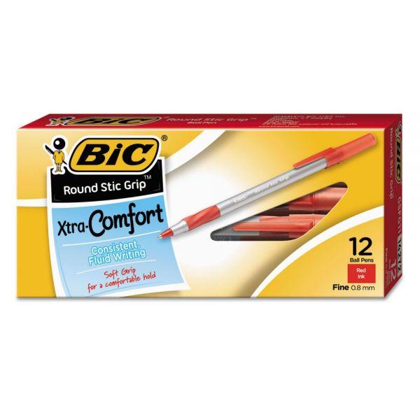 BIC Round Stic Grip Xtra Comfort Ballpoint Pen, Red Ink, .8mm, Fine, Dozen