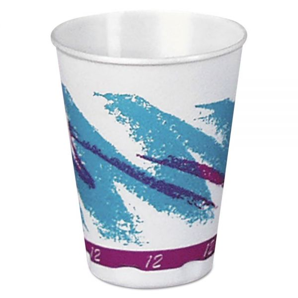 Dart Jazz Hot Paper Vending Cups, 12oz, Blue/Purple/White, Jazz Theme, 35/PK, 20/CT