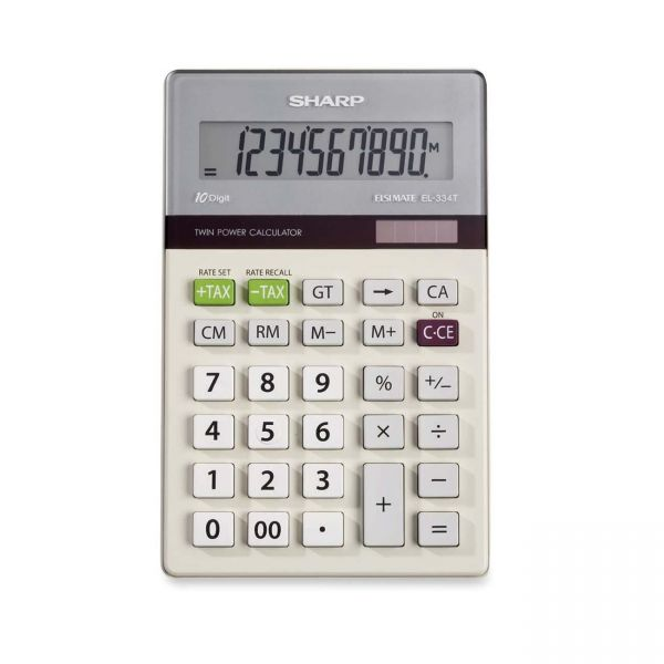 Sharp Calculators EL334TB Dual Power Portable Calculator