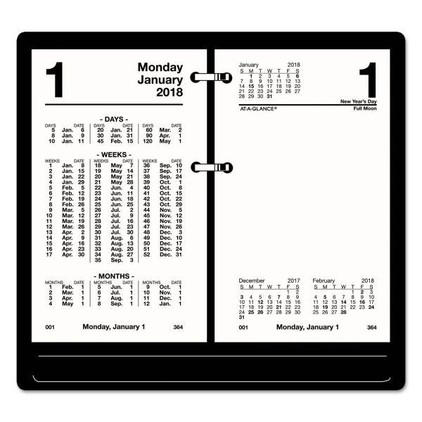 AT-A-GLANCE Financial Desk Calendar Refill, 3 1/2 x 6, White, 2018