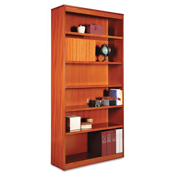 Alera Square Corner 6-Shelf Wood Veneer Bookcase