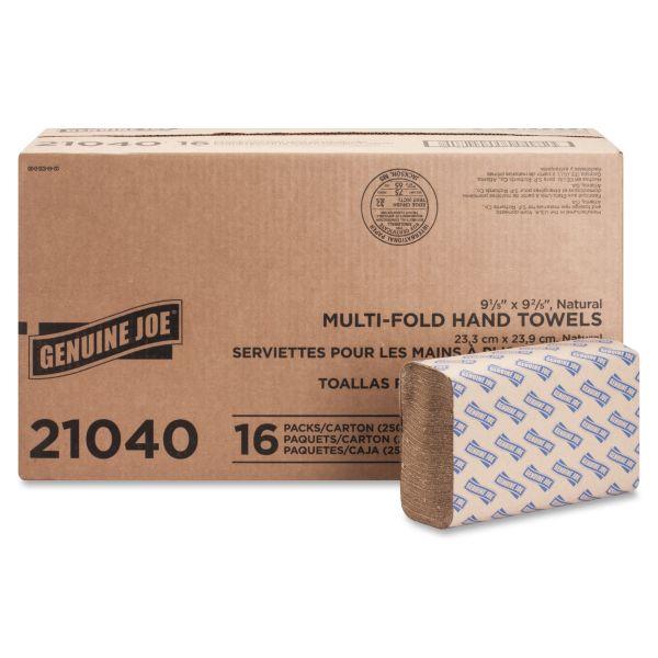 """Genuine Joe Multifold Paper Towels, 9.25"""" x 9.40"""", Natural, 250 Sheets/Pack, 16 Packs/Carton"""