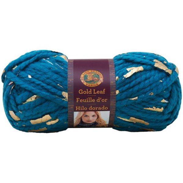 Lion Brand Gold Leaf Yarn - Teal/Gold