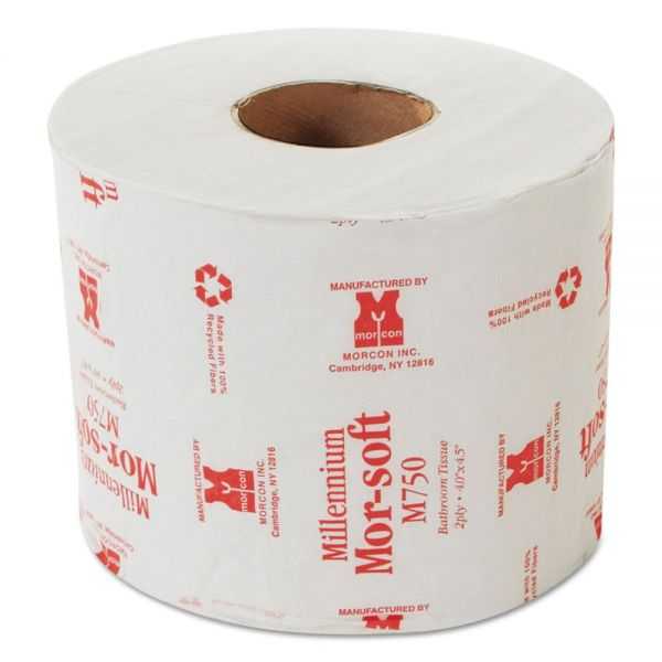 Morcon Paper Morsoft Millennium Individually Wrapped Toilet Paper, 2-Ply, White, 4 1/2 x 4 Sheet, 750 Sheets/Roll, 48 Rolls/Carton