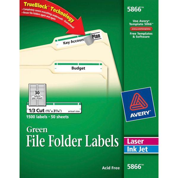 Avery Permanent File Folder Labels, TrueBlock, Inkjet/Laser, Green Border, 1500/Box