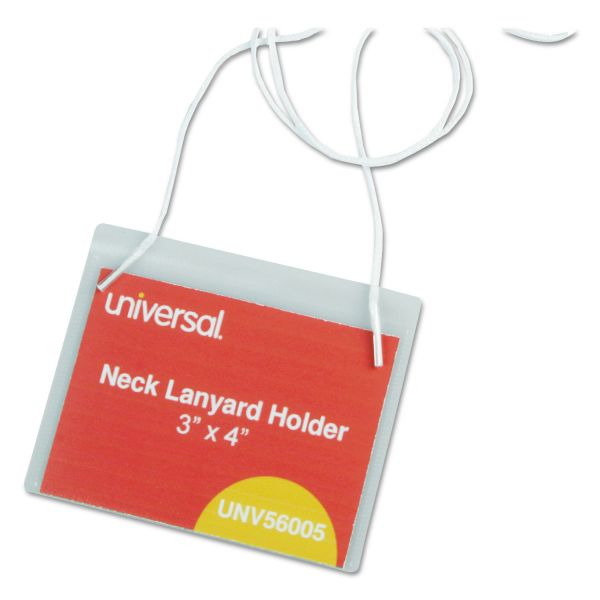 Universal Clear Badge Holders w/Neck Lanyards, 3 x 4, White Inserts, 100/Box