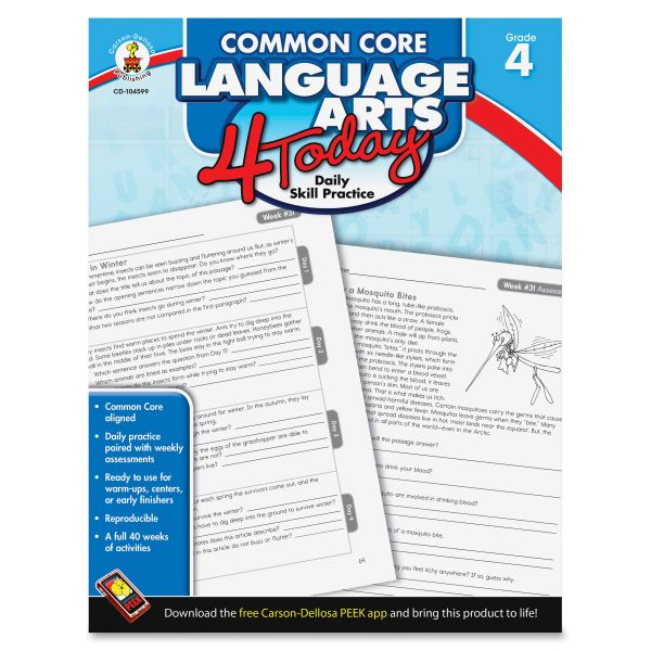Common Core Language Arts 4 Today Workbook