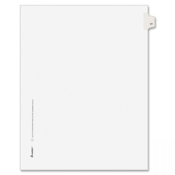 Avery-Style Legal Exhibit Side Tab Divider, Title: 77, Letter, White, 25/Pack