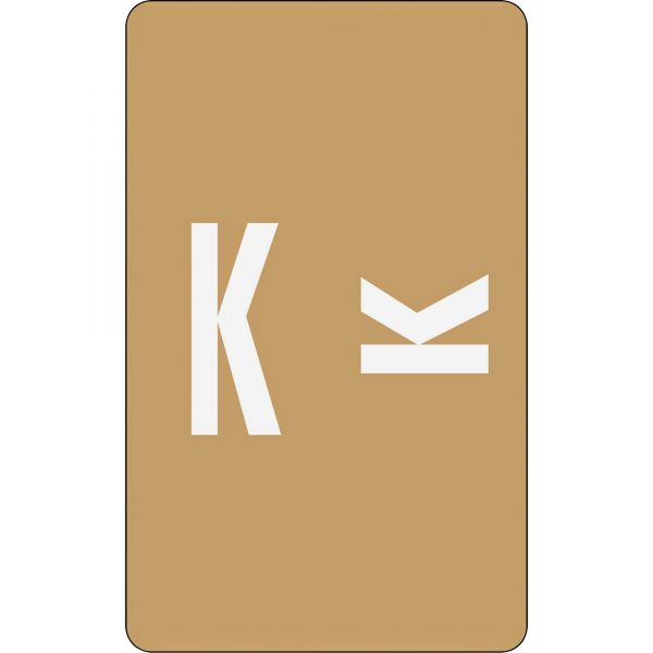 Smead Alpha-Z Color-Coded Second Letter Labels, Letter K, Light Brown, 100/Pack