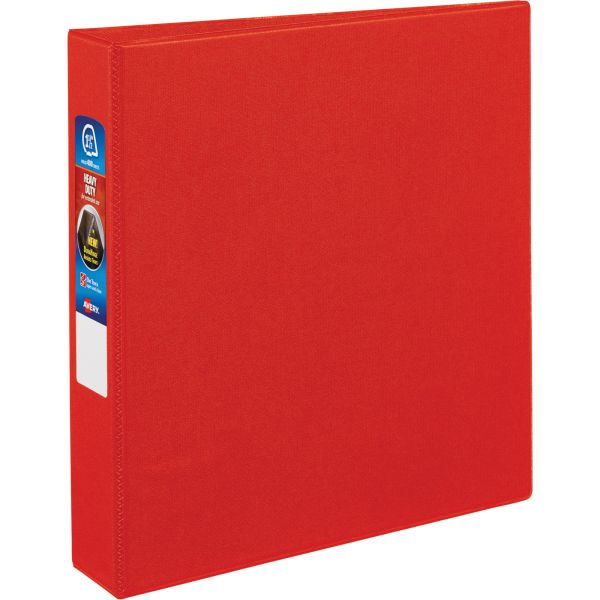 """Avery Heavy-Duty 3-Ring Binder with One Touch EZD Rings, 1 1/2"""" Capacity, Red"""