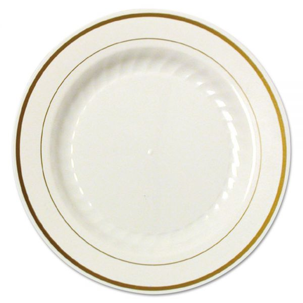 WNA Masterpiece Plastic Plates, 9 in., Ivory w/Gold Accents, Rnd, 10/PK, 12 PK/CT