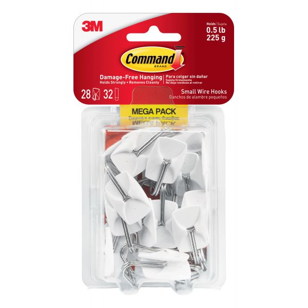 Command General Purpose Hooks, Small, 0.5lb Cap, White, 28 Hooks & 32 Strips/Pack