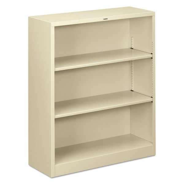 HON Metal Bookcase, Three-Shelf, 34-1/2w x 12-5/8d x 41h, Putty