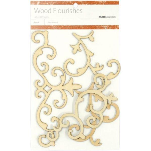 Wood Flourishes 4/Pkg