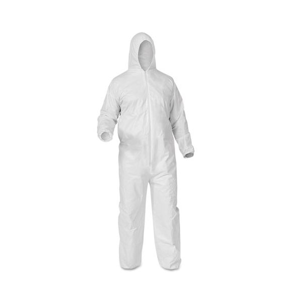 KleenGuard* A35 Coveralls, Hooded, Large, White, 25/Carton